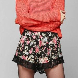 UO Band of Gypsies Floral and Lace Shorts